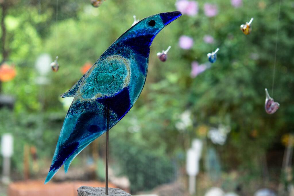 Glasvogel mit Stein